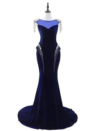 Ruolai Womens Velvet Mermaid Beaded Prom Dress Evening Gown Royal Blue 2