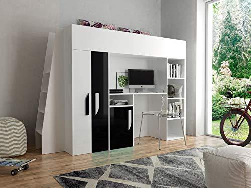 Etagenbett für Kinder PARTY 15 Stockbett mit Treppe und Bettkasten KRYSPOL (Weißszlig; + Schwarzr Glanz) Weiß + Schwarzr Glanz