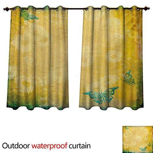 Balloons Daisy Gerbera (WilliamsDecor Vintage Outdoor Curtain for Patio Grunge Look Faded Gerbera Daisy Flowers and Blue Butterflies Nostalgic Romantic W96 x L72(245cm x 183cm))