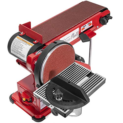 "XtremepowerUS 2-in-1 Belt & Disc Sander Station (4"" x 36"" inch) Adjustable Table Belt Angle Sander Dust Port Tension Spring, Red"
