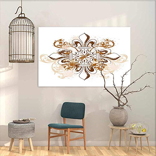 Canvas Prints Wall Decor Art Sticker Fleur De Lis Ancient Antique Heraldry Symbol Vintage Floral Swirls Traditional Old Fashion A for Your Relatives and Friends Brown White W27 xL19