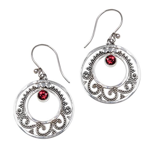 NOVICA Garnet .925 Sterling Silver Dangle Earrings, Royal Princess'