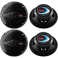 4) BOSS MR50B 5.25 2-Way 300W Marine/Boat Car Coaxial Audio Speakers Black