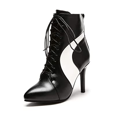 c5c8f0787af3e Amazon.com | Women's Lace Up High Heel Ankle Boots Zipper Pointed ...