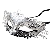 Coxeer Laser Cut Metal Lady Masquerade Halloween Mardi Gras Party Mask (Silver & Black)