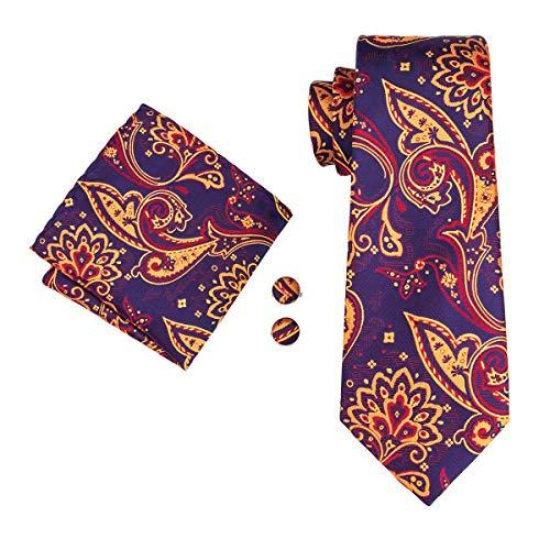 Mens Classic Orange Silk Necktie Set Orange Necktie Hankerchief Cufflinks