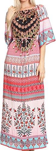 Sakkas P21 - Efiya Long Printed Kaftan Off The Shoulder Ruffled Tie-Waist Maxi Dress - 17034-Pink/Turq - OS ()