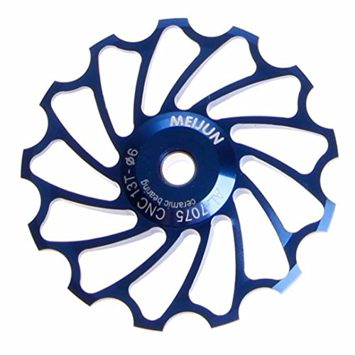 Ceramic Bearing Jockey Wheel Pulley Road Bike Bicycle Rear Derailleur (Blue) (Stainless Derailleur Pulleys)