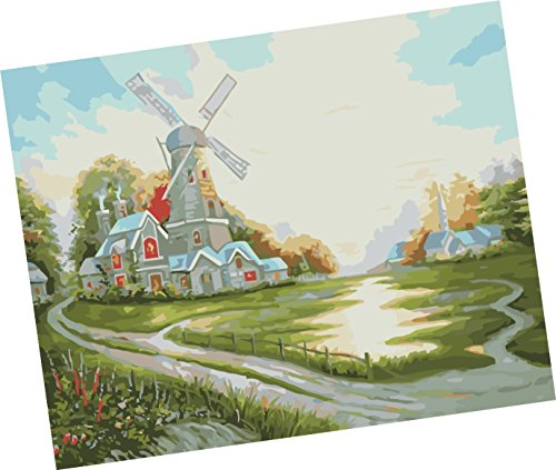 Wowdecor Paint by Numbers Kits for Adults Kids, Number Painting - Happy Pastoral Windmill Cabin 16x20 inch - Map Colorado Mills