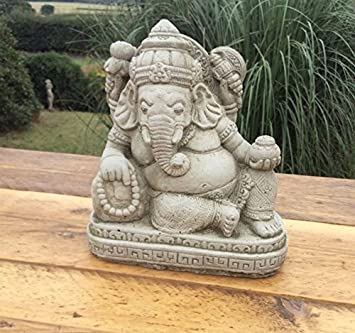 Ganesha Reclining Garden Ornament. Made From Reconstituted Stone. Superb  Details.