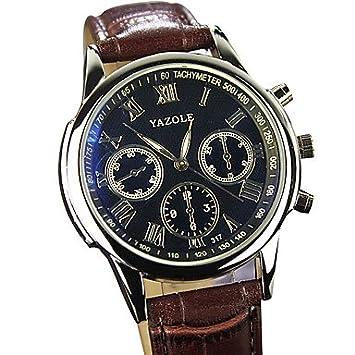 Relojes Hermosos, YAZOLE Hombre Reloj de Pulsera Cuarzo / PU Banda Cool Casual Negro Marrón Negro Marrón (Color : Marrón , Talla : Una Talla) : Amazon.es: ...