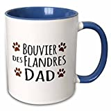 3dRose InspirationzStore Pet designs - Bouvier des Flandres Dog Dad - Doggie by breed - brown muddy paw prints love - doggy lover pet owner - 11oz Two-Tone Blue Mug (mug_153871_6)