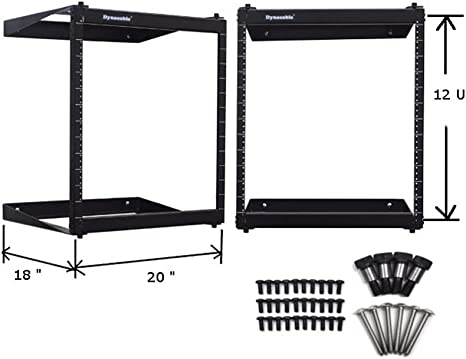 Amazon Com Dynacable 12u Heavy Duty Open Frame Swing Out Wall Mount Rack 19 Inch Network Equipment With Installation Kit Heavy Duty Steel Hold Up To 250 Lbs 18 Inch Depth Tray