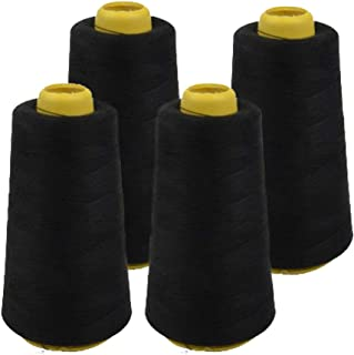 product image for 4 Pack of 6000 (24,000 Total) Yard Spools Black Sewing Thread All Purpose 100% Spun Polyester Overlock Cone