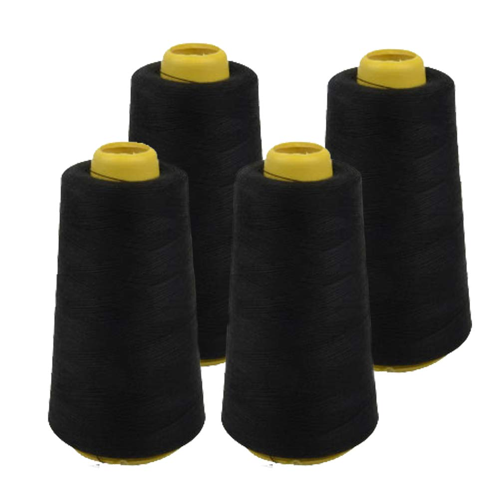 4 PACK of 6000 Yard Spools Black Sewing Thread All Purpose 100% Spun Polyester Overlock Cone (Upholstery, Canvas, Drapery, Beading, Quilting)