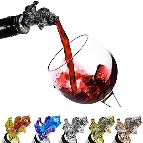 CORCHO - Fish Wine Pourer, Animal Wine Pourer, Animal Wine Aerator Pourer, Wine Pourer, Wine Aerator Pourer | Decorative Gift Box | Beach Bar, Wine, Whiskey, Champagne, Liquor Pourers (Black)