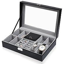 8 Slot Leather Watch Box Display Case Organizer Glass Jewelry Storage Black J.Rosée Fine Jewelry
