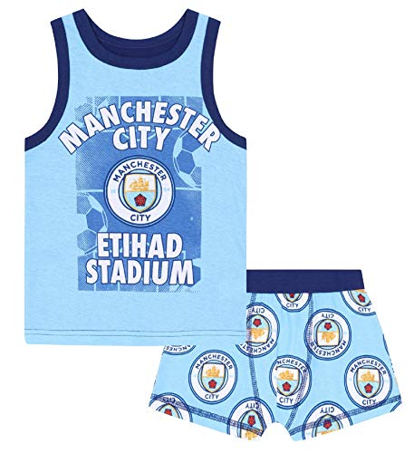 Manchester City FC Official Soccer Gift Boys Boxer Shorts & Vest Set 2-3 Years