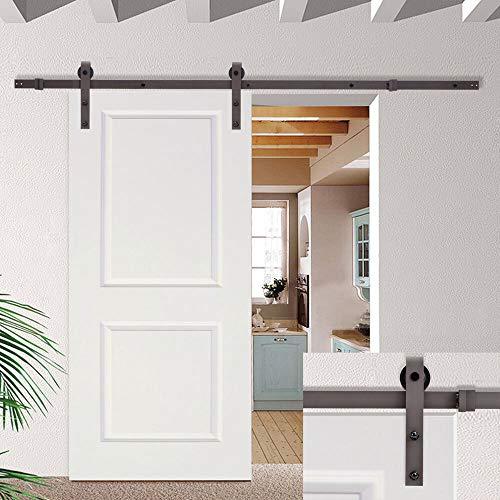 IM AMELIA 6.6FT Dark Coffee Sliding Barn Door Hardware Set w/30 Wide White Wood Door Slab