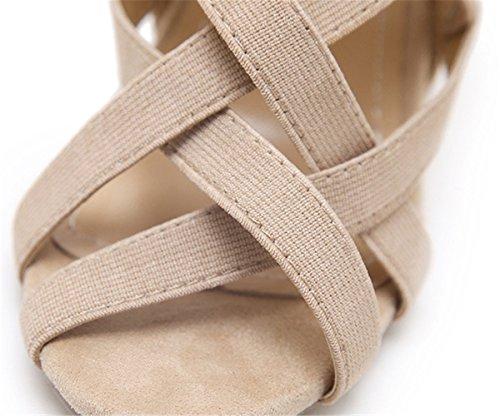 Femme Talon Talons à Beige Sexy Bout Chaussures YOGLY Escarpins Hauts Club Aiguille Boucle Ouvert Soiree Crossed Sandale g8ddw7q
