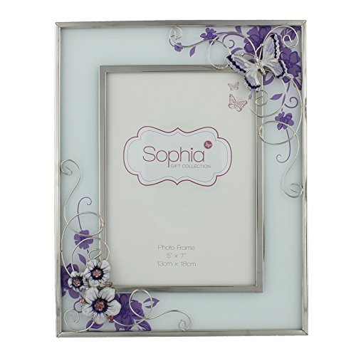 Big Butterfly Pictures - Oaktree Gifts Purple Butterfly Flowers and Diamante Glass Photo Frame 5 x 7