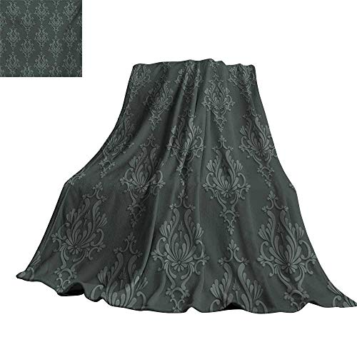 """RenteriaDecor Dark Grey,Bed Blankets Antique Damask Pattern in 3D Style Classic Old Fashioned Floral Design Throw Rug Sofa Bedding 50""""x30"""""""