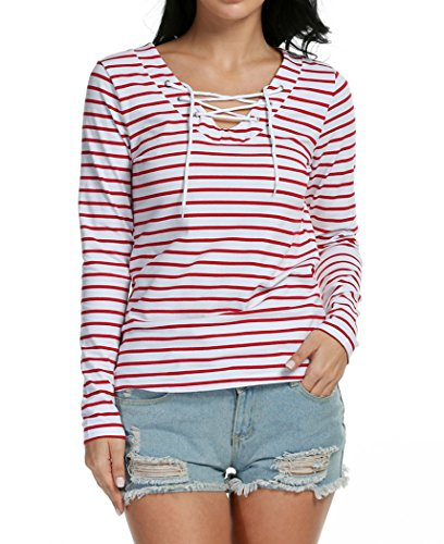 Bluetime Womens Plus Size Casual V Neck Lace Up Striped L...