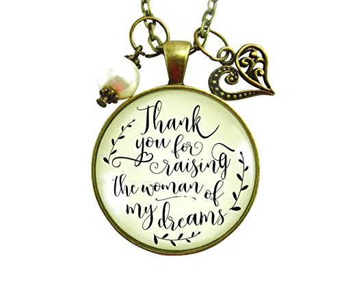 """24"""" Thank You For Raising the Woman Of My Dreams Mother Of The Bride Necklace Wedding Day Gift Vintage Style Jewelry"""
