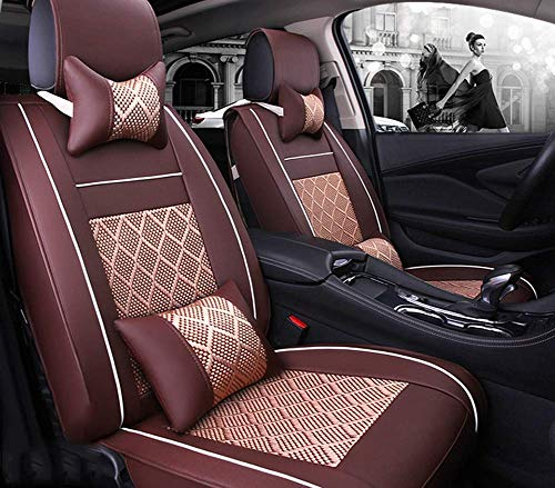 Phcom Ice silk car seat cushion 5 seats full set, non-slip suede backing universal adjustable bench suitable for 99% car type,Red,Brown: Amazon.co.uk: Sports & Outdoors