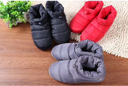 Greenery Womens Mens Winter Quilted Down Indoor Slippers Warm Floor Socks Waterproof Thick Fleece Lining Non-slip Slip on Snow Boots Thinsulate Ankle Bootie Shoes Lightweight Cozy Bedroom Mules Grey gtnYWDHPr