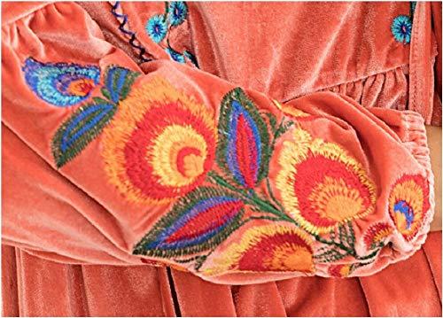 Long Vintage Velvet Pink Tops Dress Women Mini Bohemian Sleeve Jaycargogo Embroidered Z0xwfE1