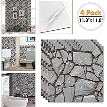 3D Grey Brick Subway Tile Peel and Stick Self Adhesive Wall Sticker DIY Decor HU