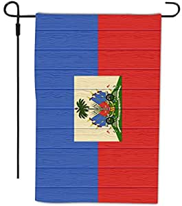 Rikki Knight Haiti Flag On Distressed Wood Design Decorative House Or Garden Full Bleed Flag, 12 By 18-inch