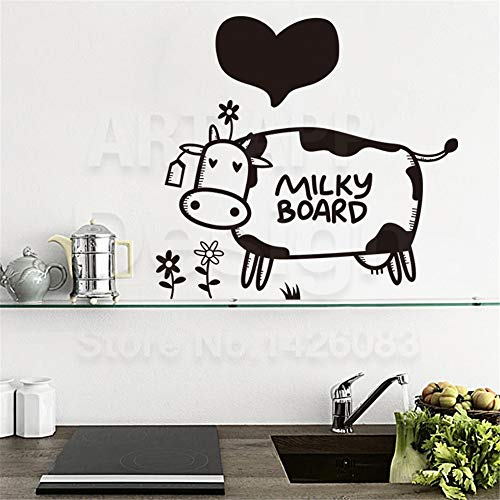 Oifes Vinyl Peel and Stick Mural Removable Decals Home Decor Cute Cow Milky Board and Heart Shaped Decals Cartoon Animal Paper House Decoration -