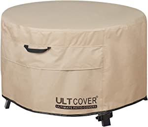ULTCOVER Patio Fire Pit Table Cover Round 50 inch Outdoor Waterproof Fire Bowl Cover