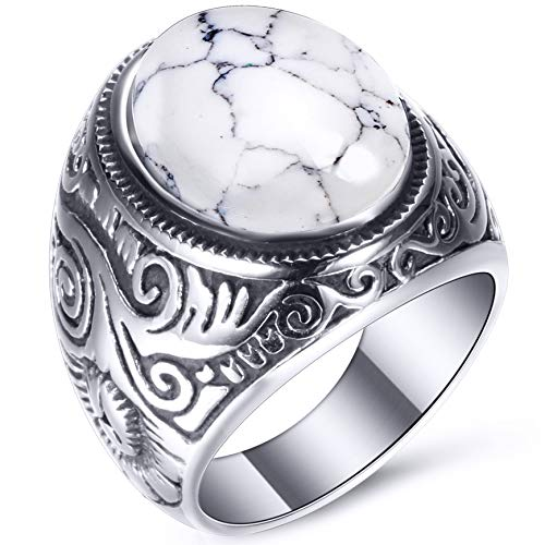 VQYSKO White Turquoise Ring Retro Vintage Mens Turquoise Rings Wedding Band (W9)