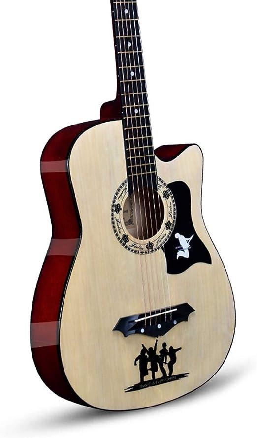 YJFENG-Guitarra Acústica,Cuerda De Cobre Panel De Olmo Amplio ...