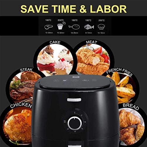 Friteuse 5 0 L friteuse à air antiadhésive 1350 W avec Batterie de Cuisine sans Huile et sans fumée adaptée à la Cuisson Faible en Gras dans la Cuisine