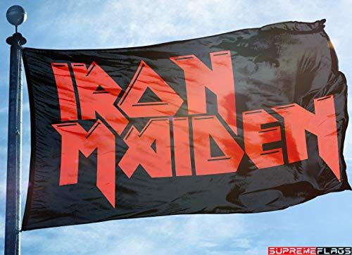 Iron Maiden Banners - Iron Maiden Flag Banner 3x5 ft Rock Heavy Metal Band Wall Garage Black