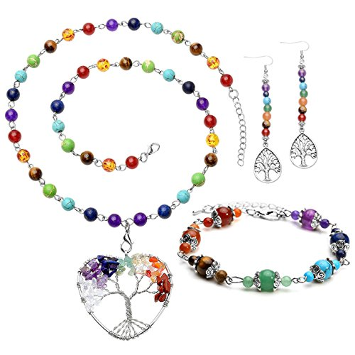 Top Plaza 7 Chakra Healing Crystals Natural Gemstone Beads Yoga Meditation Balancing Necklace Bracelet Earrings Jewelry Set(Heart Shape Pendant)