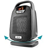 Ceramic Digital Space Heater, Indoor Oscillating Personal Heater, Over-Heat and Tilt Protection, Carrying Handle, 1500/1000 Watt, Shut Off and Turn on Timer, Quiet Operation for Home, Office