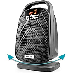 OPOLAR 1500/1000 Watt Digital Ceramic Space Heater, PTC Oscillating Personal Heater with Over-Heat and Tilt Protection, Carrying Handle, Shut Off and Turn on Timer, Quiet Operation for Home, Office