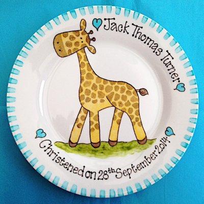 Pintada a Mano Personalizada, Plato, LITTLE Giraffe de recuerdo de bautizo bautismo de recuerdo