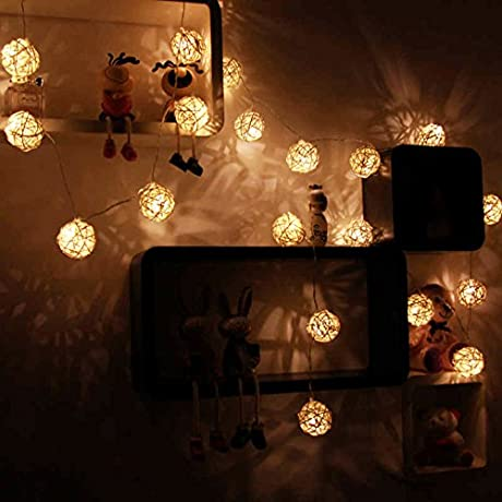 Goodia 19 7 Ft 30 LED Rattan Ball String Lights For Outdoor Bedroom Patio Lawn Landscape Fairy Garden Home Wedding Holiday Christmas Tree Halloween Party