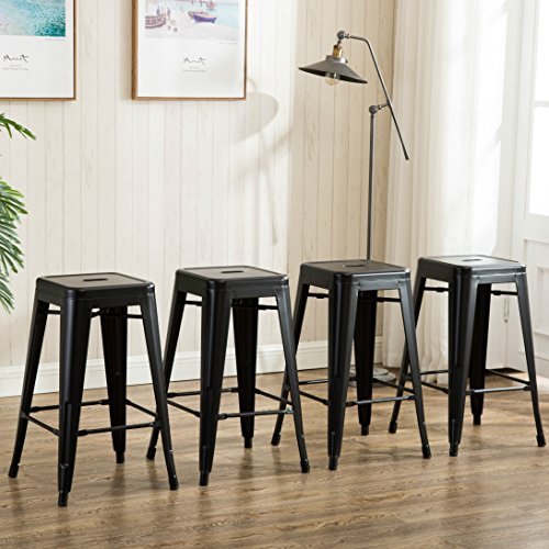 26 inch Backless Metal Counter Height Bar Stools (set of 4 ) Vintage Tolix Chairs Matt Black (Inch Stools Counter 26 Backless)