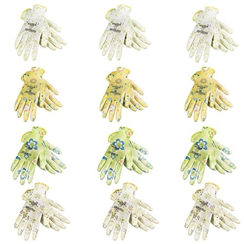 JORESTECH Garden Palm Dipped Nitrile Coated Seamless Knit Work Gloves PPE Hand Protection (Large) Assorted Pack of 12 by JORESTECH