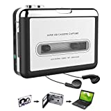 Cassette Player, Cassette Tape to MP3 CD Converter via USB, Portable Cassette Player Convert Cassette Tape to Digital MP3, Compatible with Laptop, Mac and PC, with Earphones
