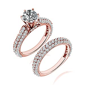 2.59 Carat G-H I2-I3 Diamond Engagement Wedding Anniversary Halo Bridal Ring Set 14K Rose Gold