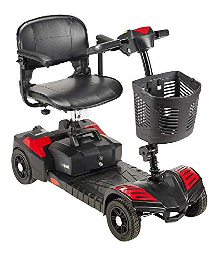 (Drive Medical Spitfire Scout 4-EXT 4 Wheel Travel Power Scooter with Extended 15 Mile Range Batt and 5 Year Extended Warranty)