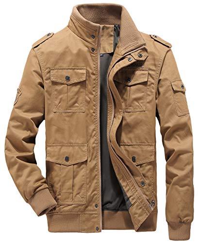 chouyatou Men's Casual Long Sleeve Full Zip Jacket with Shoulder Straps (X-Large, 63Khaki) - Long Sleeve Casual Jackets